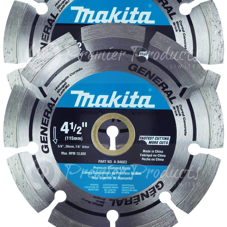"Makita 2 Pack - 4.5"" Segmented Diamond Blades For 4.5"" Grinders - Long-Lasting Cutting For Concrete, Masonry & Brick - 4-1/2"" x 7/8"""