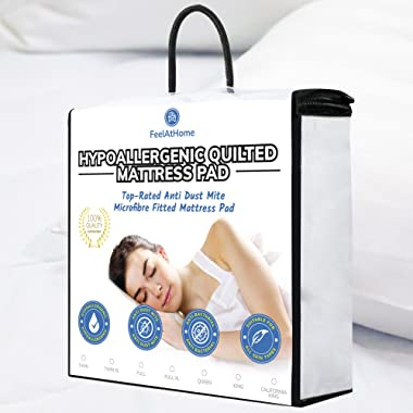 FeelAtHome Hypoallergenic Fitted Mattress Pad Topper (Queen) - Quilted Fitted Bed Mattress Topper Protection Cover - Super Soft, Comfortable Luxurious Pillowtop with Deep Pockets