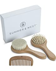 Natural Wooden Baby Brush and Comb Set - Newborn & Toddler Baby Hair Brush Set
