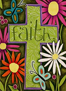 Dyrenson Religious Garden Flag Flower Cross, Home Decorative Christian Faith House Yard Flag, Floral Garden Yard Decorations, Butterfly Daisies Seasonal Outdoor Flag 12.5 x 18 Easter