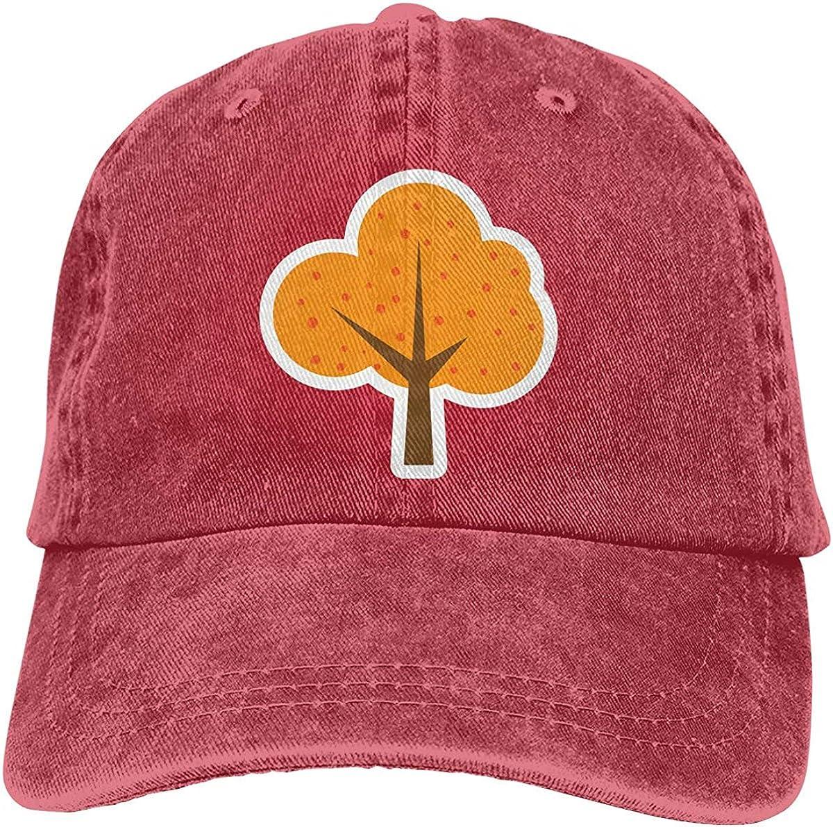 SDHEIJKY Men Women Distressed Denim Fabric Baseball Cap Orange Tree Plant Trucker Cap