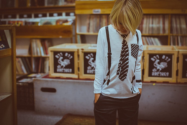 Mini Shatsu Little Boys Pixel Tie and Suspenders T-Shirt