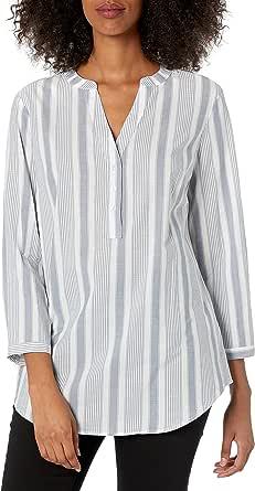 Amazon Essentials playera de manga larga de algodón Popover Camisa de botones para Mujer