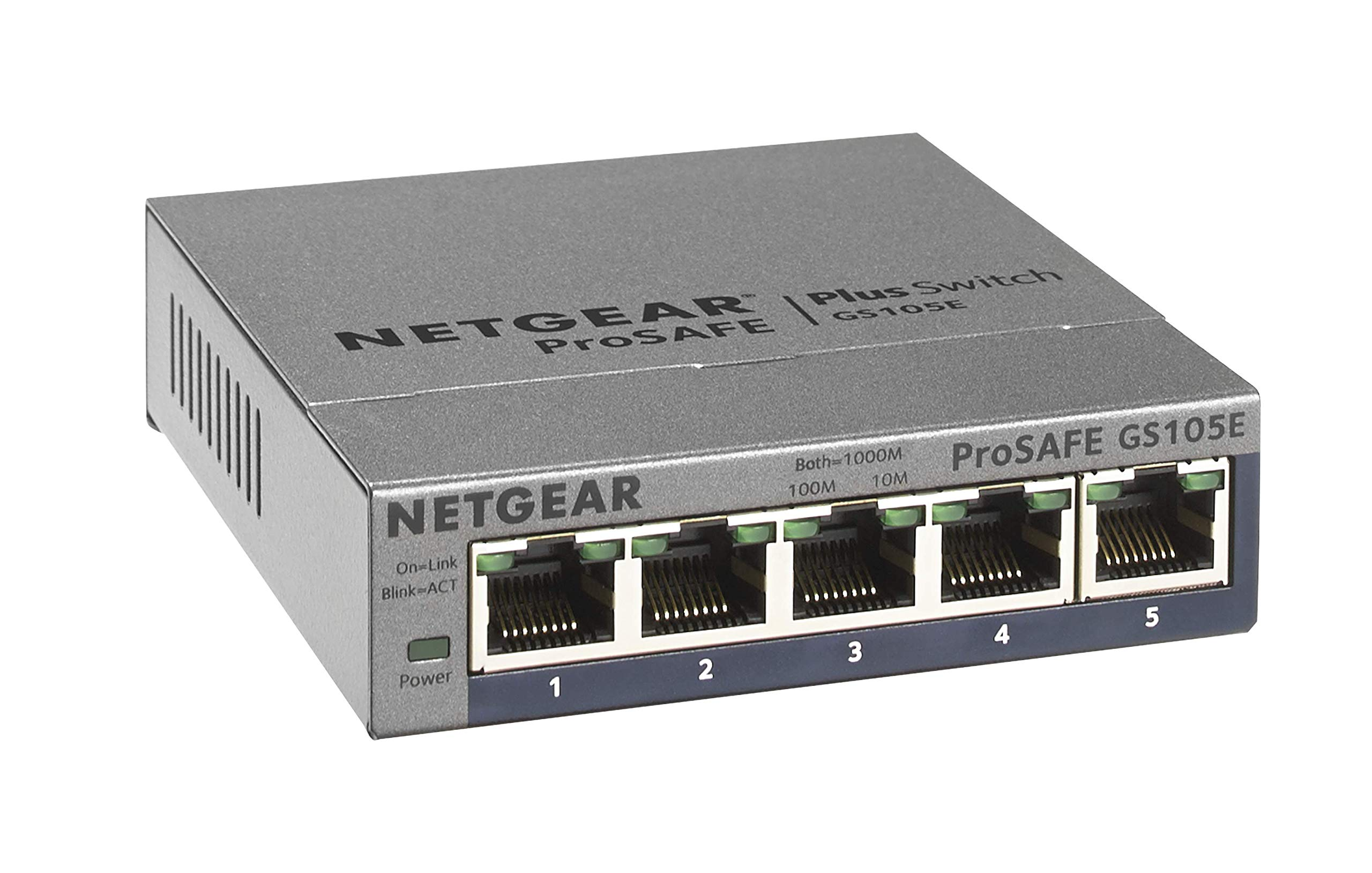 NETGEAR 5-Port Gigabit Ethernet Smart Managed Plus Switch (GS105Ev2) - Desktop, and ProSAFE Limited Lifetime Protection by NETGEAR