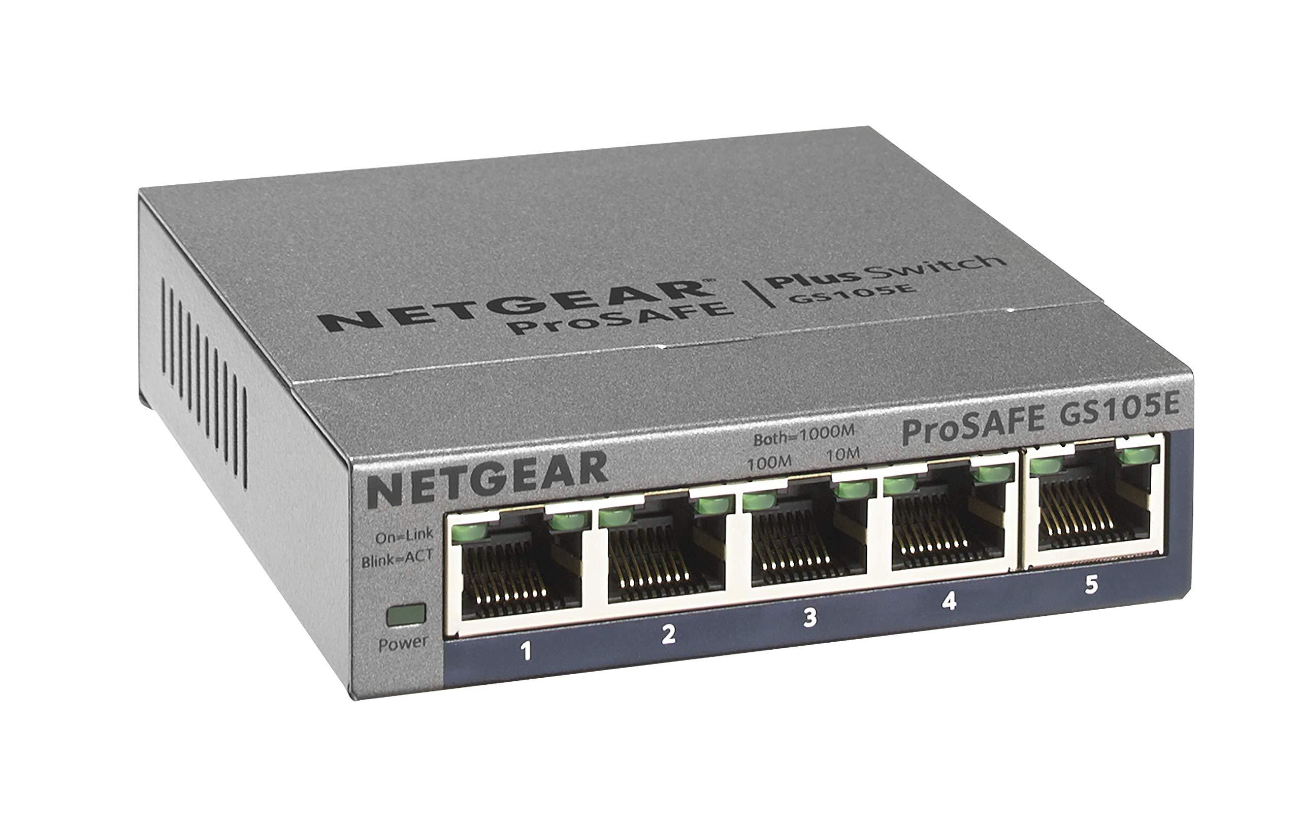 NETGEAR 5-Port Gigabit Ethernet Plus Switch (GS105Ev2) - Managed, Desktop or Wall Mount, and Limited Lifetime Protection