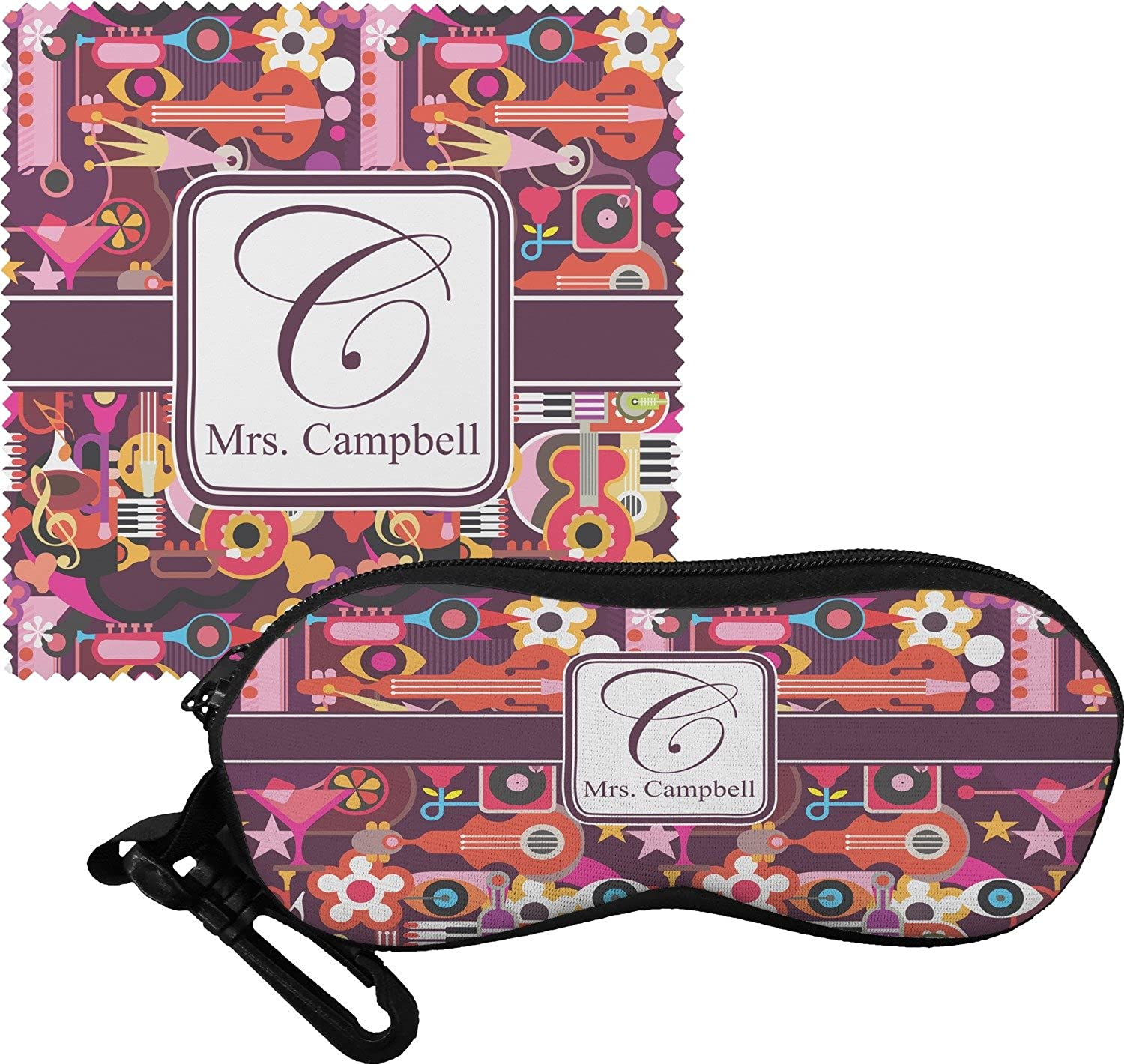 Abstract Music Eyeglass Case & Cloth (Personalized)