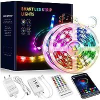 Tiras LED 15 Metros, Beaeet Luces LED 5050 RGB Tira LED con Control Remoto de 40 Botones, Sincronización de música…