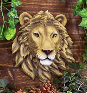"Ebros Simba Safari King Of The Jungle Lion Head Wall Decor Plaque 9.25""Tall Taxidermy Art Sculpture Alpha Pride Lions Hanging Bust Plaques"