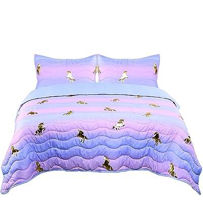 Tadpoles Girls Unicorn Quilt Set, Full Size, Pink, Purple, Metallic Gold: Baby