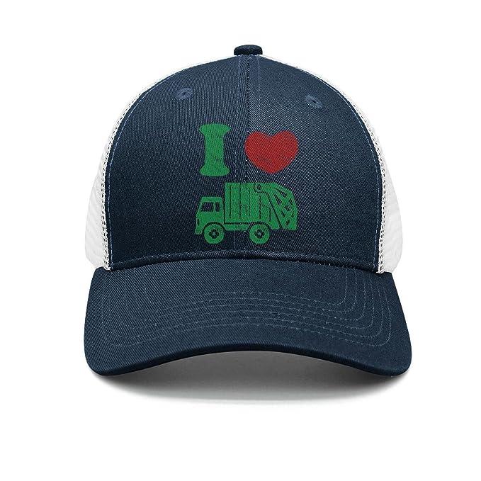 ca9aa21a259 ZhongQi I Heart Love Trash Garbage Truck Man Popular mesh Cap Sport Hat  Trucker Hat at Amazon Men s Clothing store