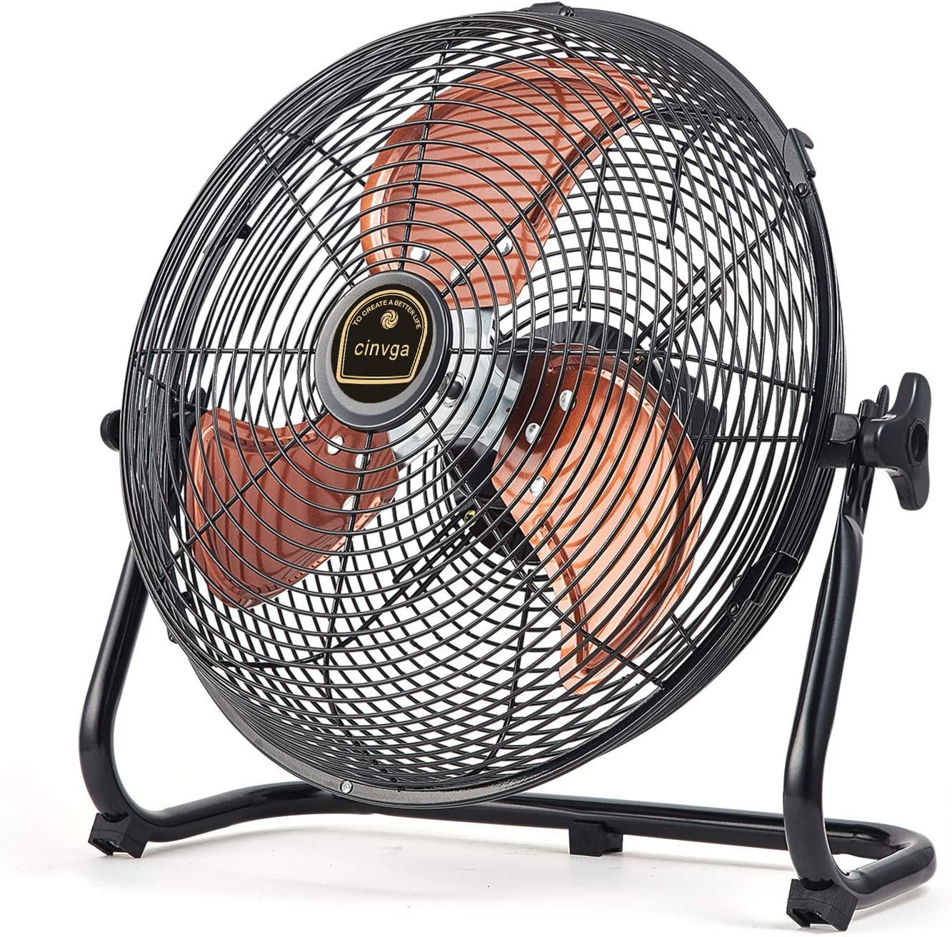 """Cinviga Black Wireless Floor Fan ,16"""" Metal Blade Outdoor Camping Fan Can Running Time 4 to 24 The Fan With USB Output Function For Home , Camping,Barbecue"""