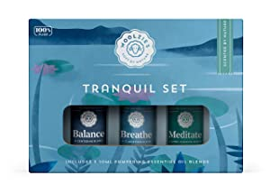 Woolzies 100% Pure & Natural Tranquil Essential Oil Set   Incl. Meditate, Balance, Breathe Blend   Promotes Grounding, Relaxing, Tranquility, Ease Anxious Feeling, Relieve Stress   Diffuse/Skin