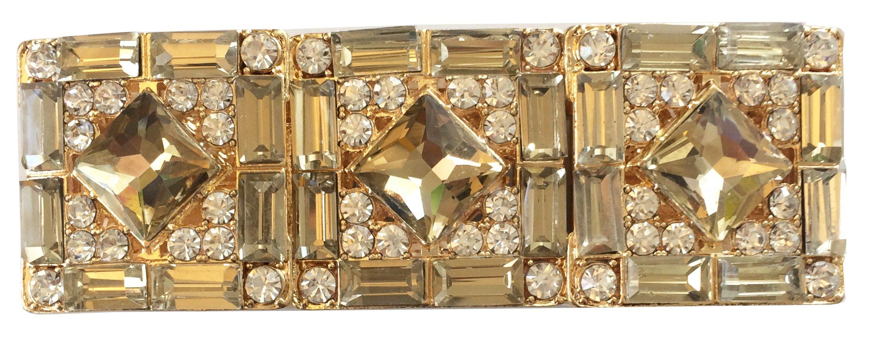 Art Deco Antique Vintage Retro Style Yellow Brown Citrine Amber Canary Champagne Topaz Rhinestone Statement Cuff Bracelet