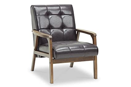 Baxton Studio Mid Century Masterpieces Club Chair, Brown