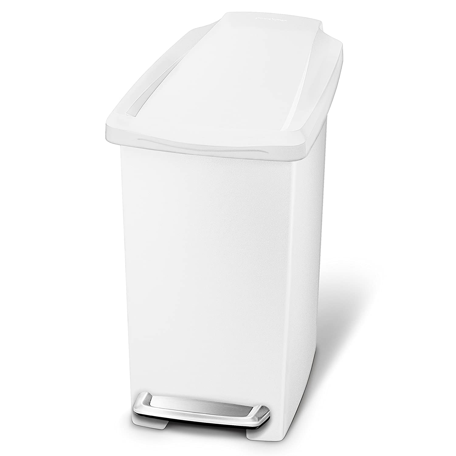 simplehuman 10 Liter / 2.6 Gallon Compact Slim Bathroom or Office Step Trash Can, White Plastic