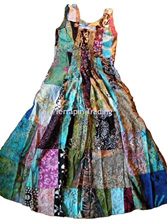 e6ea1eacb01 Fair Trade Patchwork Long Dress with Real Patches by Terrapin (Medium)   Apparel