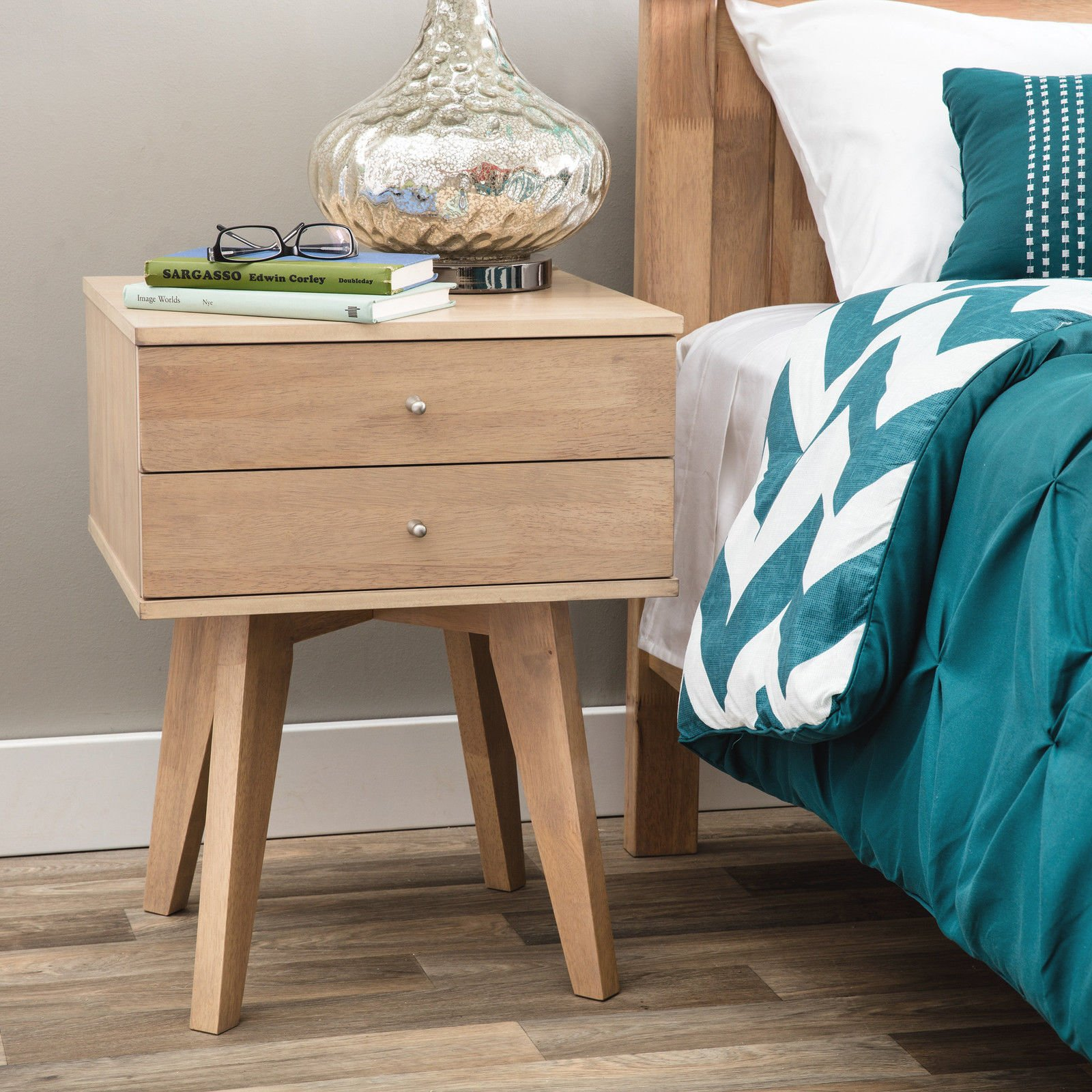 Sturdy I Love Living Jones Birch 2-Drawer Nightstand in Home Oak Finish