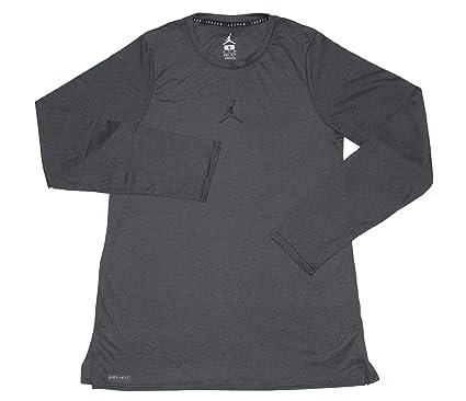 6ad28b68ae95f5 Nike Jordan Mens 23 Alpha Long Sleeve Training T-Shirt Top Anthracite Black  (