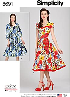 product image for Simplicity Chic Women's Retro Sweetheart Neckline Dress Sewing Patterns, Sizes 6-14