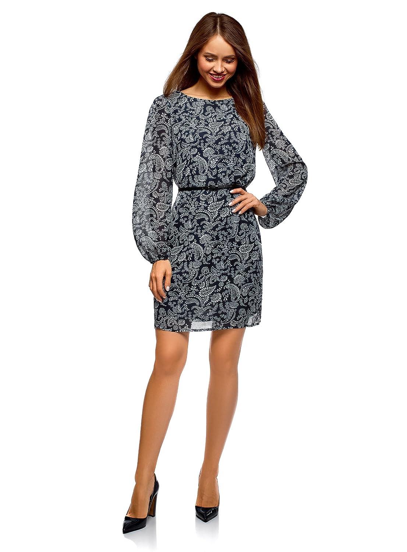 oodji Ultra Damen Chiffon-Kleid mit Gürtel RIFICZECH s.r.o. 11900150-18B