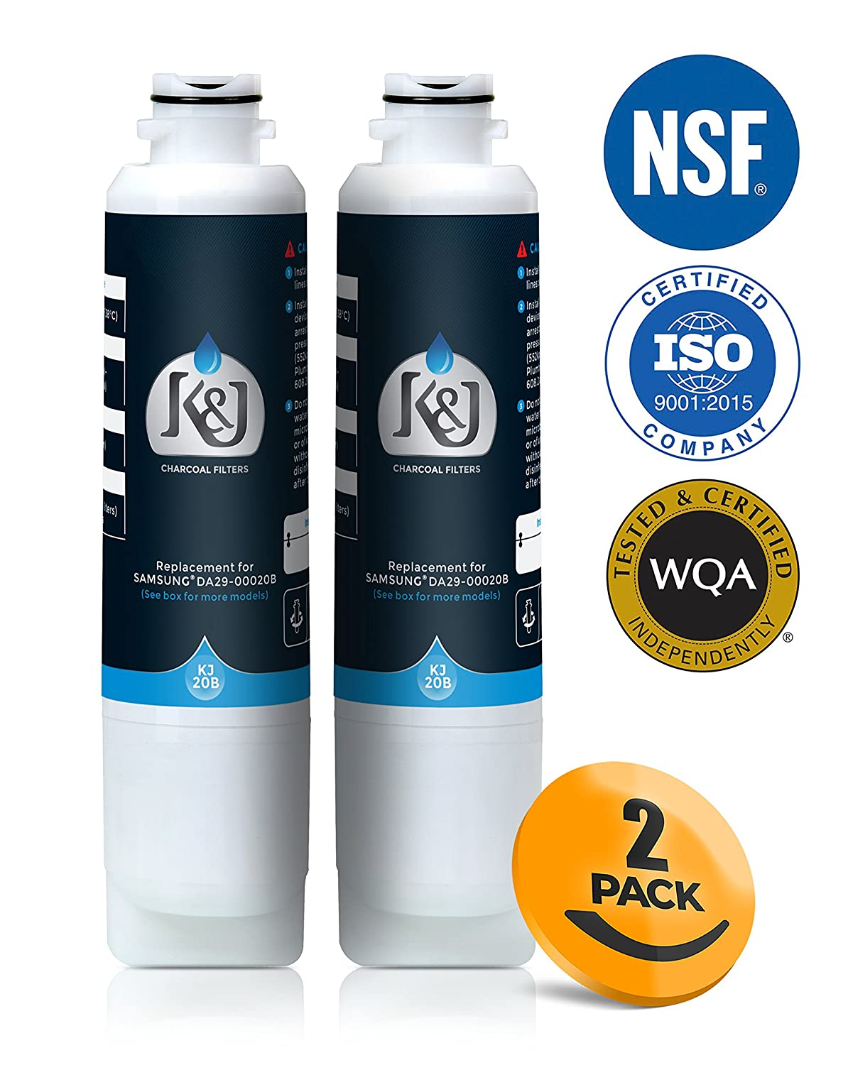 Samsung Compatible Refrigerator Water Filters for DA2900020B, RF263BEAESR, and RF28HMEDBSR - Samsung HAF-CIN/EXP and 46-9101 Compatible Refrigerator Water Filters, NSF 42 Certified (2 Pack)
