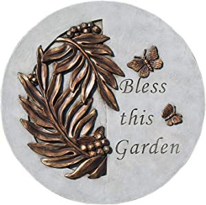 Bless This Garden Leaves Bronze Tone 9 x 9 Resin Stone Outdoor Decorative Stone