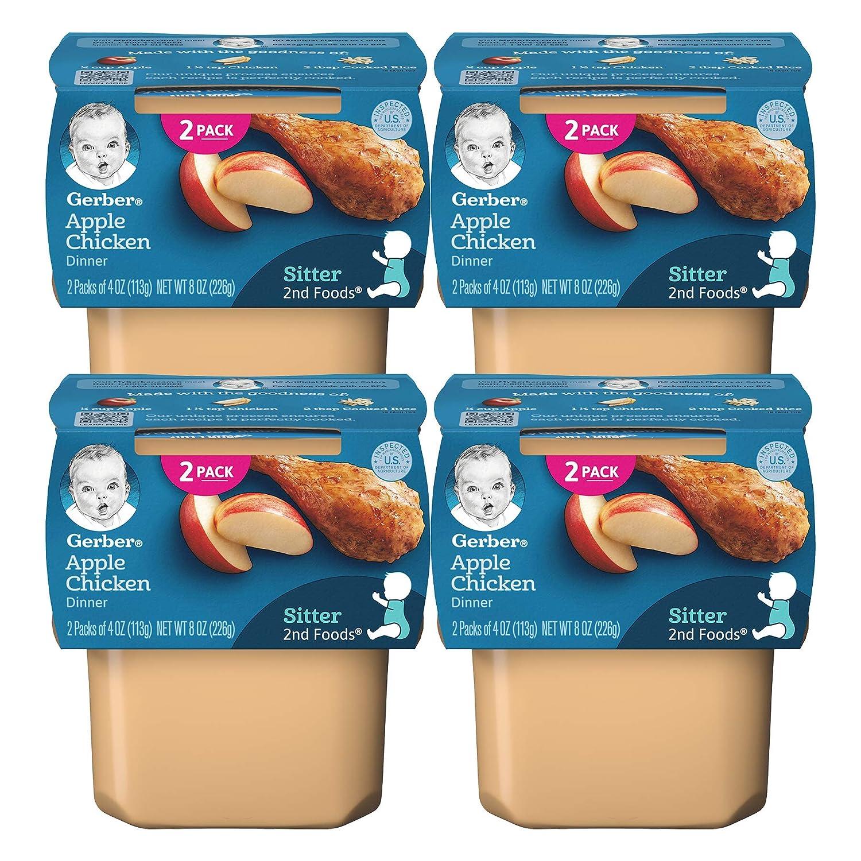 Gerber 2nd Foods Baby Food Tubs, Apple Chicken Dinner, 2 CT/Pack (4 OZ Tubs) (Pack of 4)