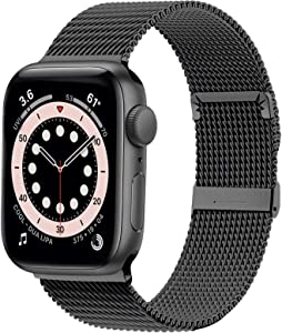 Ewsprou Magnetic Band Compatible with Apple Watch 38mm 40mm 42mm 44mm, Stainless Steel Mesh Strap Replacement for iWatch SE iWatch Series 6/5/4/3/2/1 Women Men (Black, 42mm 44mm)