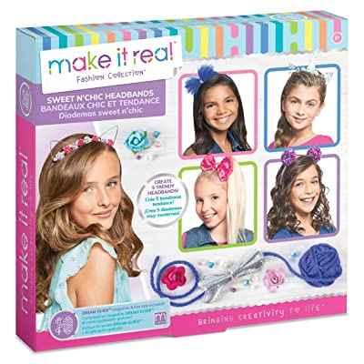 Make It Real - Sweet n' Chic Headbands. Trendy and Stylish Tween Girls DIY Headband Kit Guides Kids to Create Five Unique Hair Headbands with Beads, Ribbons, Gems and More: Toys & Games