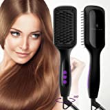 Ionic Hair Straightener Brush, GLAMFIELDS Electrical Heated Irons Hair Straightening with Faster Heating, MCH Ceramic Technology, Auto Temperature Lock, Anti Scald, Heat Resistant Glove (Black-01)