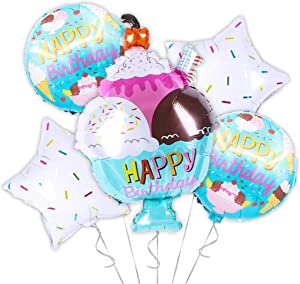OMG Party Factory - Ice Cream Balloon Party Decorations | Perfect Ice Cream Sundae with Sprinkles Theme Birthday Supplies | Mylar Helium Balloons Kit - Set of 5