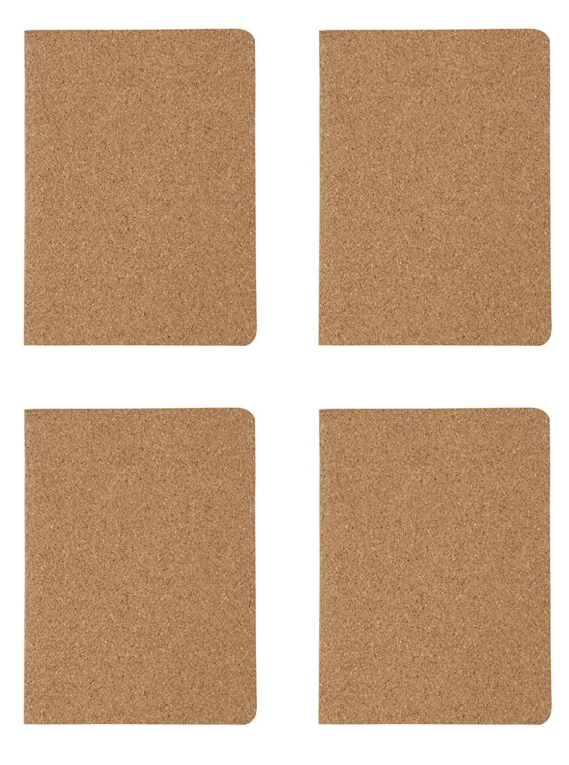 Pocket Notebooks with Cork Cover- 4-Pack Eco-Friendly Lined Soft Cover Notebooks, Travel Journals, Diary, Notepad for Office, School, Students, 40 Sheets, 5.9 x 4.25 inches