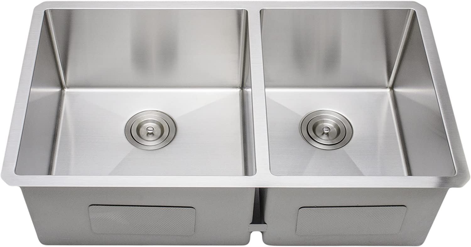 Wells Sinkware Ncu3319 10l 1 New Chef S Collection Undermount Double Bowl Kitchen Sink Package 33 60 40 Brushed Matte Finish