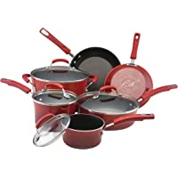 10-Piece Rachael Ray Hard Enamel Cookware Set (Red)