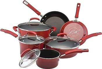 10-Piece Rachael Ray Hard Enamel Cookware Set
