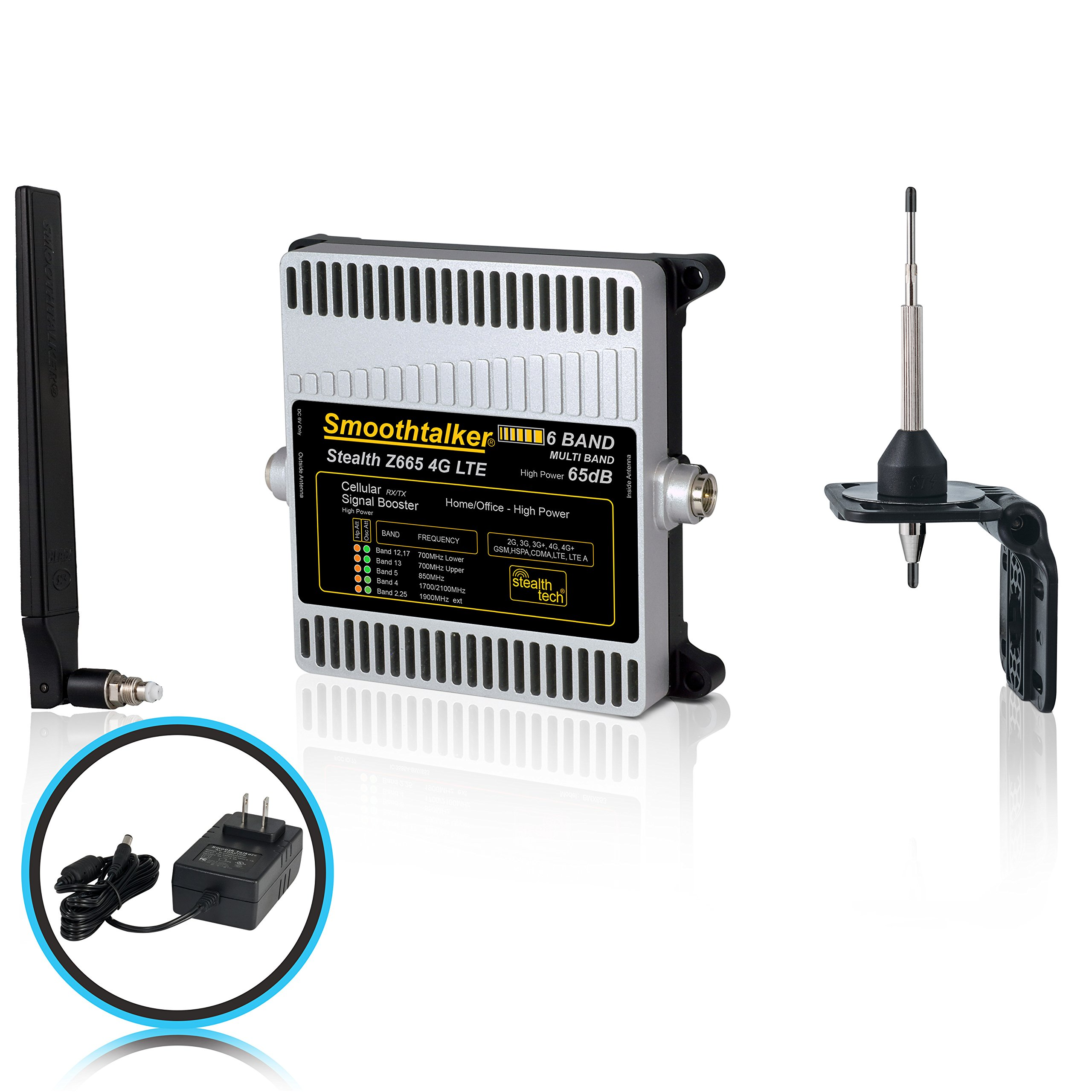 Smoothtalker Stealth Z6 65dB 4G LTE High Power 6 Band Cellular Signal Booster Kit. Covers up to 6500 sq. ft.