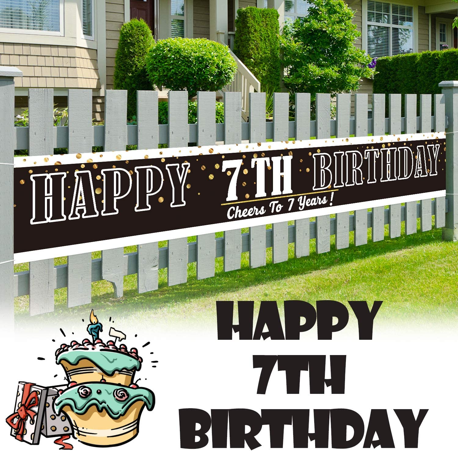 LINGPAR 9.8 x 1.6 ft Large Sign Happy 7th Birthday Banner - Cheers to 7 Years Old Decor