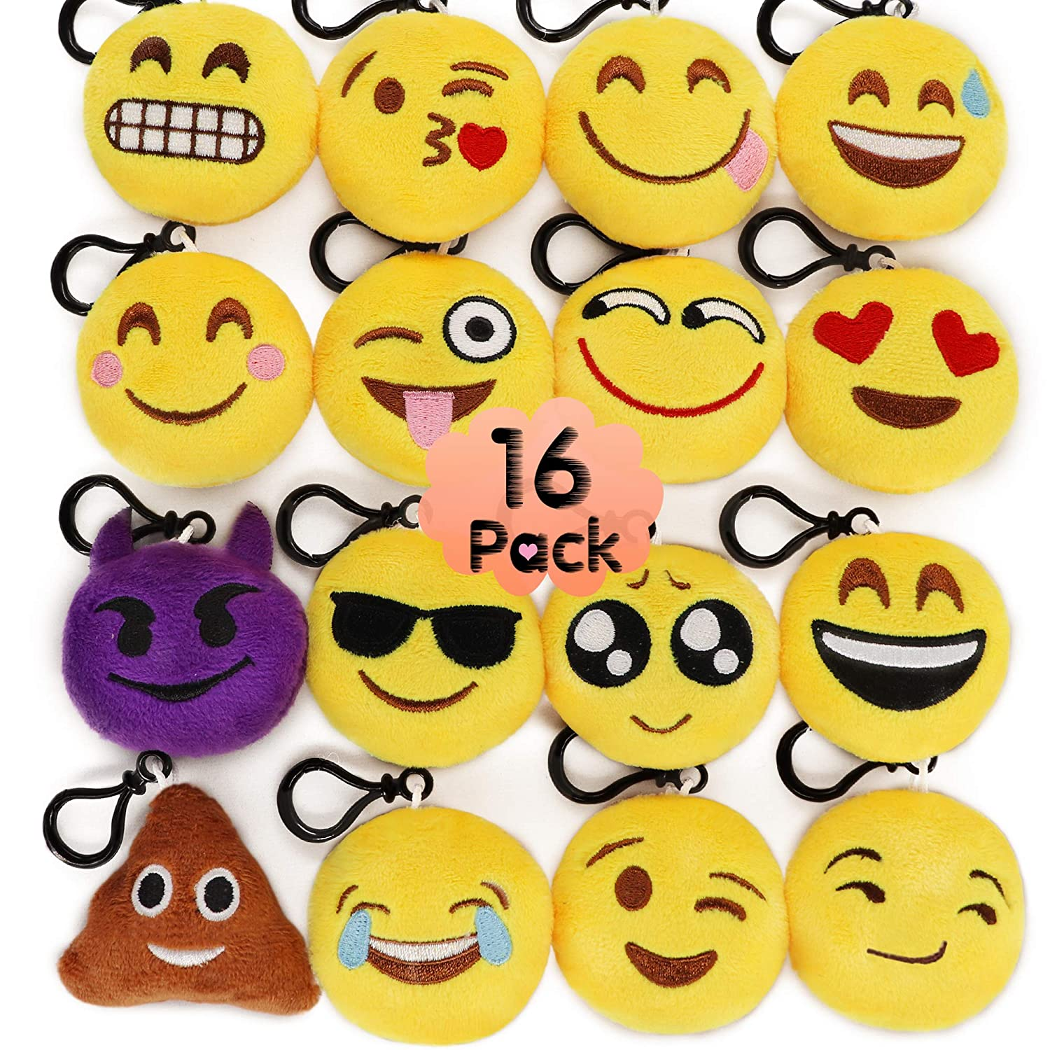 MelonBoat 16 Pack 2 Emoji Plush Keychain Mini Pillows Backpack Clips Emoticon Birthday Party Favors Supplies Goodie Bag Stuffers Novelty