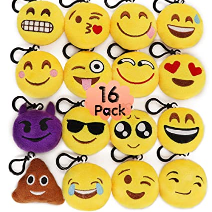 MelonBoat 16 Pack 2quot Emoji Plush Keychain Mini Pillows Backpack Clips Emoticon Birthday