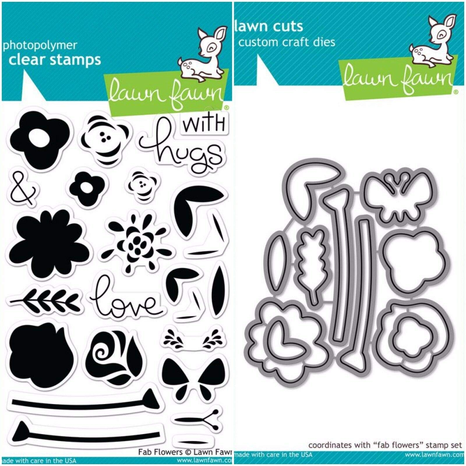 ShopForAllYou Stamping & Embossing''FAB Flowers'' Clear Photopolymer Stamps Set and Matching Dies Set