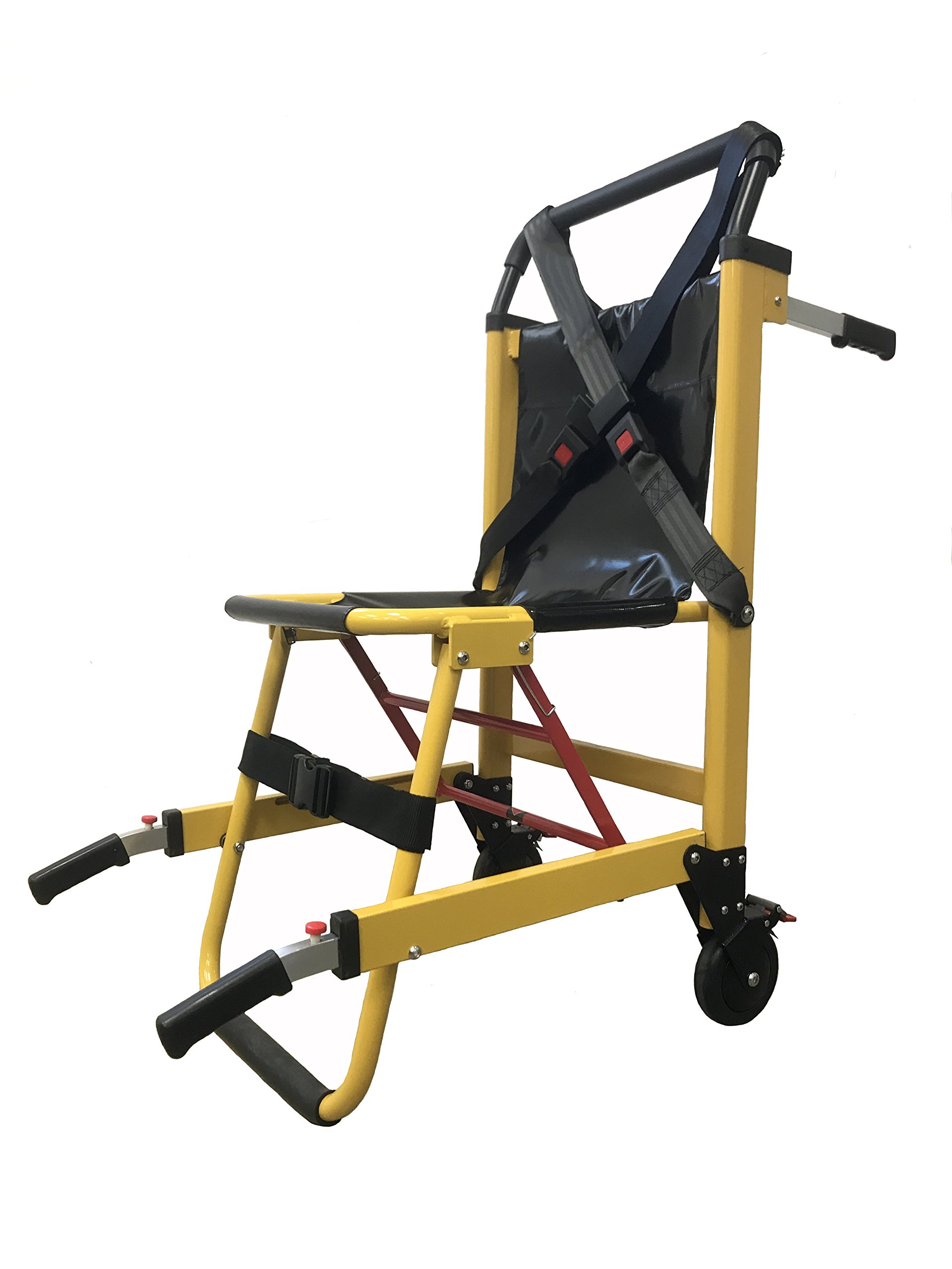 LINE2design EMS Stair Chair - Medical Emergency Patient Transfer - 2-Wheel Deluxe Evacuation Chair - Ambulance Transport Folding Stair Chair Lift - Yellow   Load Capacity: 400 lbs