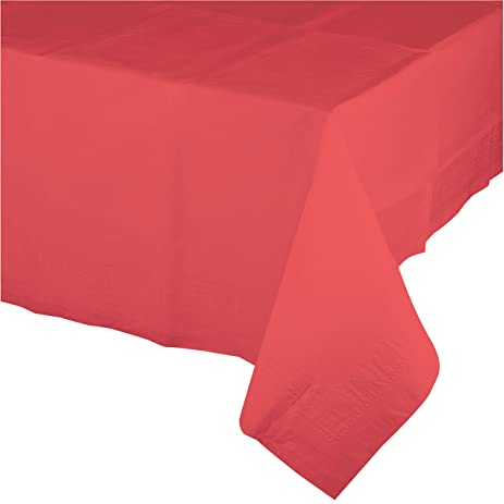 Creative Converting 723146 Touch Of Color Plastic Table Cover, 54 By  108u0026quot;, Coral