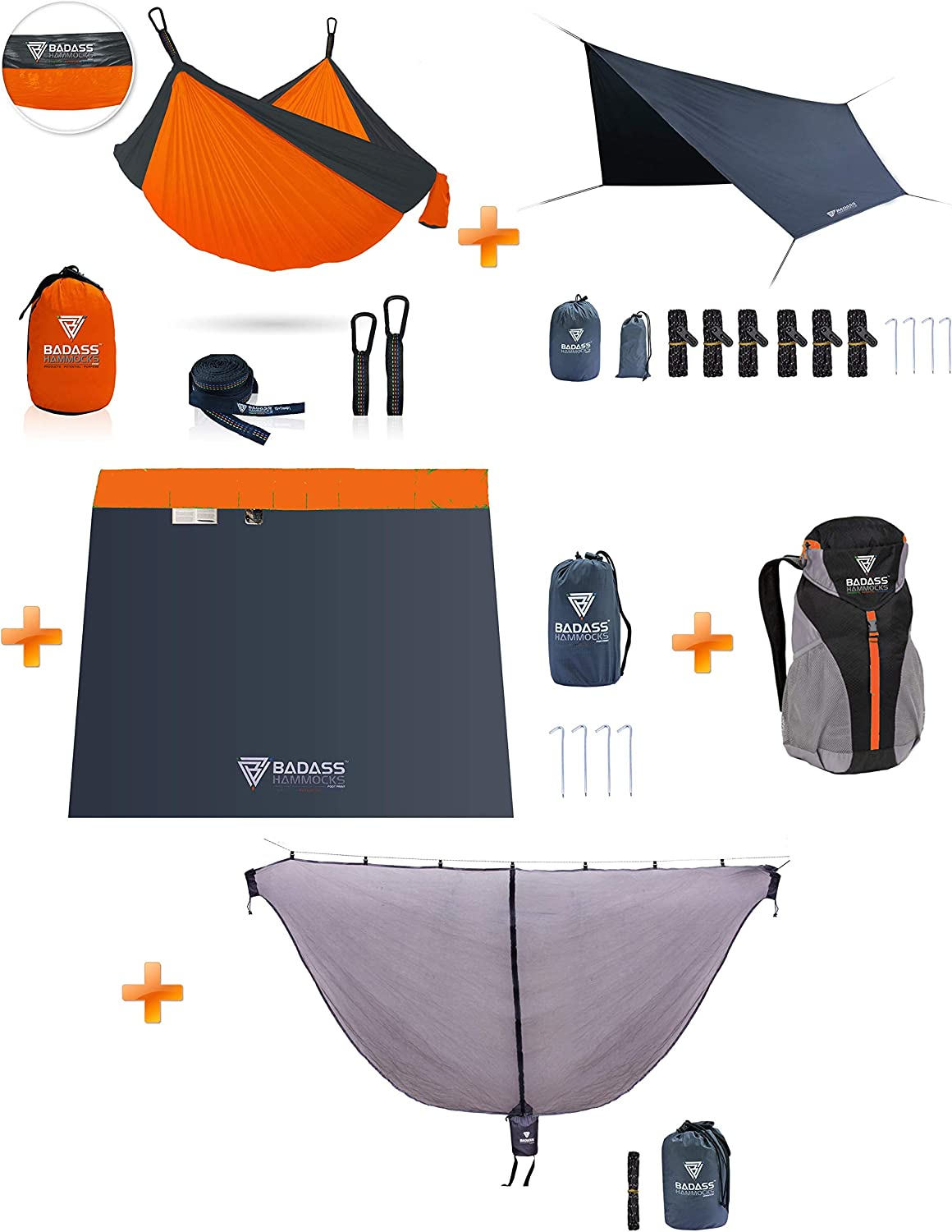 Badass Hammocks Hammock Camping System Save Your Money and Buy it in a Bundle – Hammock, Carabiners, Tree Straps, Mosquito Net, Rainfly, Footprint, Packaged in a Badass Backpack – Yes Please