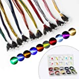 DiCUNO 100Pcs (10 Colors × 10Pcs) 5MM Pre Wired 12V LED Diodes, 9.4 Inch/24CM Ultra Bright Light Emitting Diodes…
