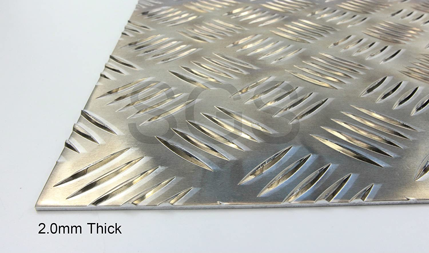 2.0mm Thick Aluminium Chequer Plate - 23 sizes to choose from (100mm x 100mm) SGS