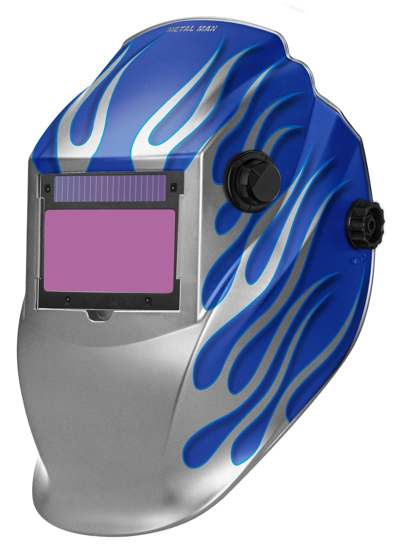 Metal Man ASB8735SGC 9-13 Variable Shade Professional Auto-Darkening Welding Helmet, Blue/Silver Flame
