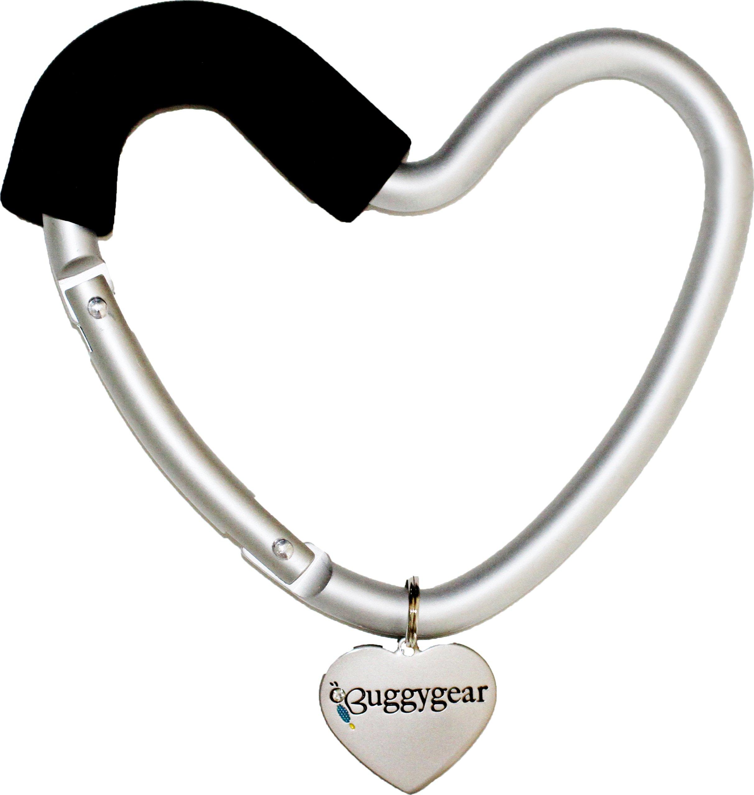 Baby Stroller Hook Heart -Diaper bag purse accessories hanger clip big carabiner, Black/Silver by Buggygear