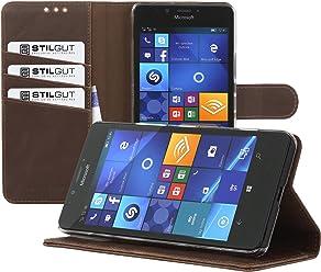 StilGut Talis, Housse Porte-Cartes avec Fonction Support pour Microsoft Lumia 950, en Cognac Vintage