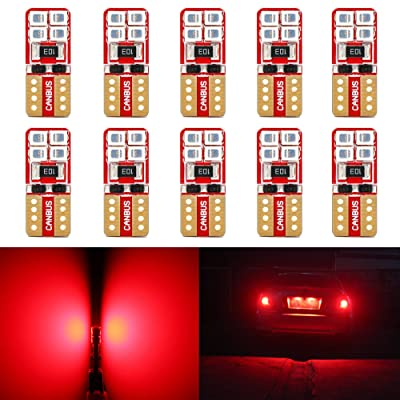 Phinlion Super Bright 2835 SMD LED Bulbs for Car Interior Dome Map Door Courtesy License Plate Lights Wedge T10 168 194 2825 Red (10 Pack): Automotive