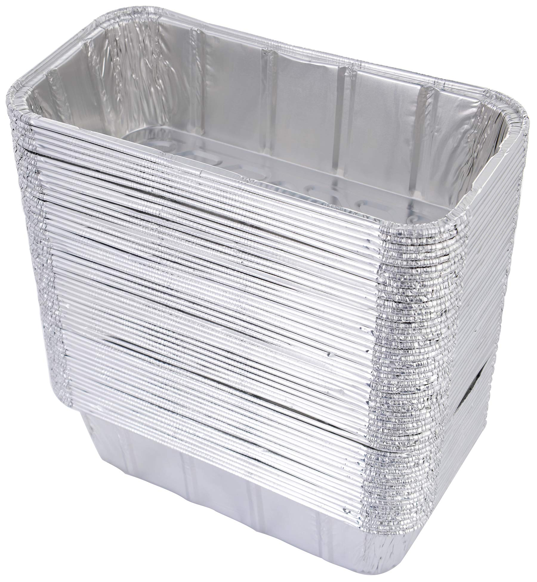 DOBI (50 Pack) Loaf Pans - Disposable Aluminum Foil 2Lb Bread Tins, Standard Size - 8.5'' X 4.5'' X 2.5''